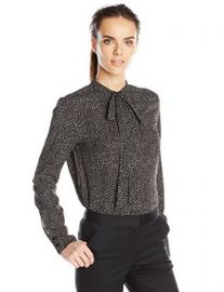 Anne Klein Womenand39s Long Sleeve Mini Dot Bow Blouse at Amazon