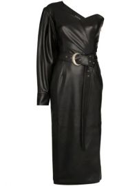 Anouki one-shoulder Faux Leather Midi Dress - Farfetch at Farfetch