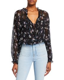 Antonette Floral-Print Top by Veronica Beard at Neiman Marcus