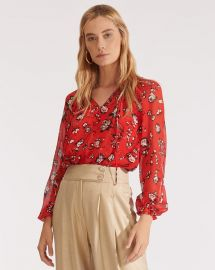 Antonette Floral Silk Blouse by Veronica Beard at Veronica Beard