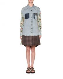 Antonio Marras Floral-Sleeve Denim Shirtdress at Neiman Marcus