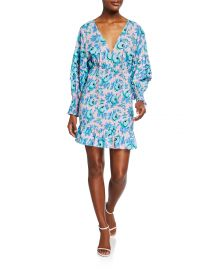 Anya Floral Smocked Flounce Dress at Neiman Marcus