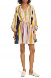 Apiece Apart La Flutte Stripe Cotton  amp  Silk Minidress   Nordstrom at Nordstrom
