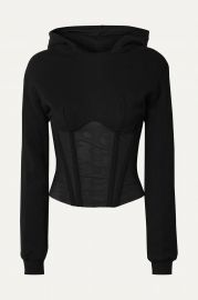 Apollo cropped cotton-jersey and tulle hoodie at Net A Porter