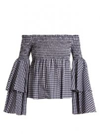 Appolonia off-the-shoulder gingham-checked blouse at Matches