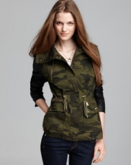 Aqua Army Jacket - Faux Leather Sleeve Camo Stud at Bloomingdales