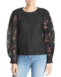 Aqua Blouson Sleeve Lace Top at Bloomingdales