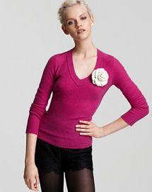Aqua Cashmere Long Sleeve Raw Edge V Neck Sweater at Bloomingdales