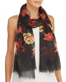 Aqua Floral Needlepoint-Print Scarf at Bloomingdales