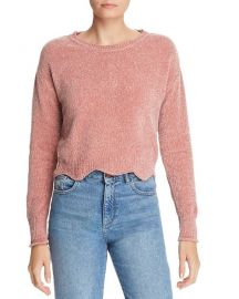 Aqua Scalloped Cropped Chenille Sweater at Bloomingdales