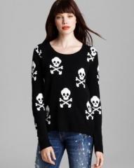 Aqua Sweater - Skull Cross Bone High Low Crewneck at Bloomingdales