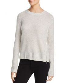 Aqua Zip Detail Donegal Cashmere Sweater in Ash Nep at Bloomingdales