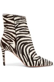 Aquazzura - Alma 85 zebra-print calf hair ankle boots at Net A Porter