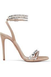 Aquazzura - So Vera 105 crystal-embellished suede sandals at Net A Porter