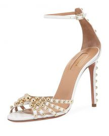 Aquazzura Bon Bon Beaded Ankle-Strap Sandal   Neiman Marcus at Neiman Marcus