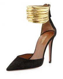 Aquazzura Hello Lover Suede Ankle-Strap Pump  Black at Neiman Marcus