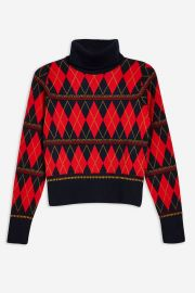 Argyle Roll Neck Top at Topshop