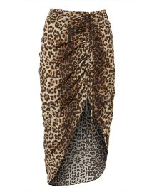 Ari Asymmetrical Leopard Skirt at Intermix
