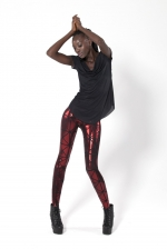 Aria's metallic red leggings at Black Milk