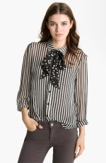 Aria's striped shirt with polka dot neck bow at Nordstrom