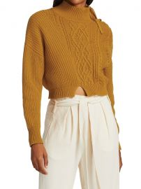 Arina Mixed Stitch Fisherman Cropped Turtleneck at Saks Fifth Avenue