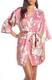 Arisa Floral Print Satin Robe at Nordstrom Rack