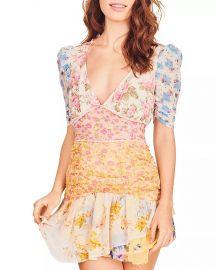 Arlo Mixed Print Silk Georgette Minidress by LoveShackFancy at Bloomingdales