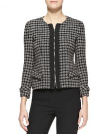 Armani Collezioni Tweed Zip-Front Jacket at Neiman Marcus
