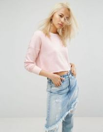 Arrive Cropped Raw Edge Sweat with Rip Detailing at asos com at Asos