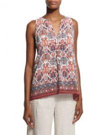 Aruna Folkloric-Print Sleeveless Top at Neiman Marcus