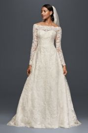 As-Is Off-The-Shoulder Lace A-Line Wedding Dress by Davids Bridal at Davids Bridal