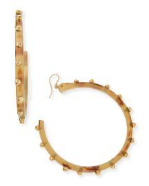 Ashley Pittman Duara Studded Hoop Earrings  Light Horn at Neiman Marcus