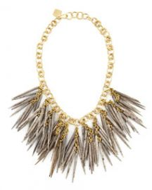 Ashley Pittman Grey Quill-Bead Necklace at Neiman Marcus