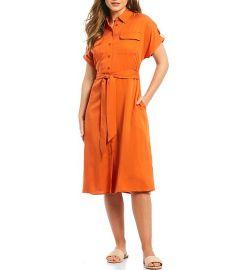 Ashley Tie Waist Twill Midi Shirt Dress at Dillards
