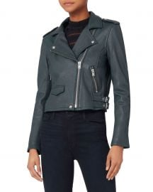 Ashville Blue Cropped Leather Jacket at Intermix