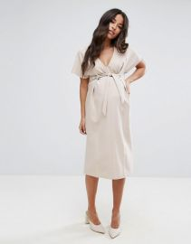 Asos Maternity Plunge Neck Midi Column Dress with Eyelet Detail and Tie at Asos