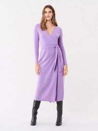 Astrid Wool-Cashmere Midi Wrap Dress at Orchard Mile