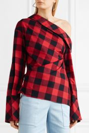 Astrid one-shoulder checked cotton and silk-blend twill top at Net A Porter