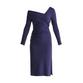 Asymmetric Bardot Dress With Side Split In Navy at Wolf and Badger
