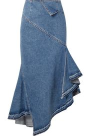 Asymmetric Denim Midi Skirt  Monse at Net A Porter