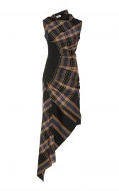 Asymmetric Plaid Crepe Midi Dress by Monse at Moda Operandi