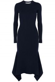 Asymmetric Ribbed Wool Midi Dress by Victoria Beckham at The Outnet
