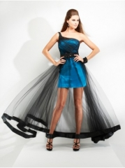 Asymmetric Shoulder Satin and Tulle Dress at JC Dress Penny