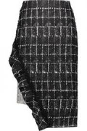 Asymmetric checked woven cady and tweed skirt at The Outnet