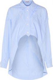 Asymmetric cropped striped cotton-poplin shirt at The Outnet