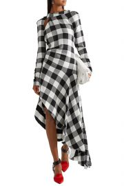 Asymmetric cutout gingham crepe midi dress at The Outnet