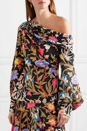 Asymmetric floral-print stretch-silk cloqué blouse at Net A Porter