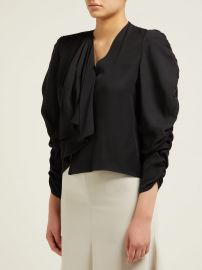 Asymmetric gathered-sleeve top at Matches