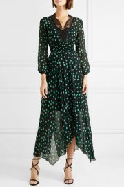 Asymmetric lace-trimmed printed chiffon dress at Net A Porter