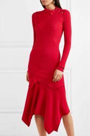 Asymmetric ribbed wool and silk-blend dress at Net A Porter